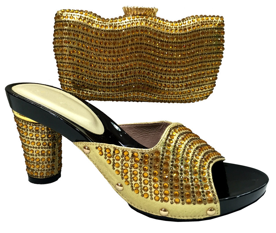 ФОТО Women Sandal African Wedding Shoes And Bag Sets With Stones For Party Italian Matching Shoe And Bag Set Gold Color TT15