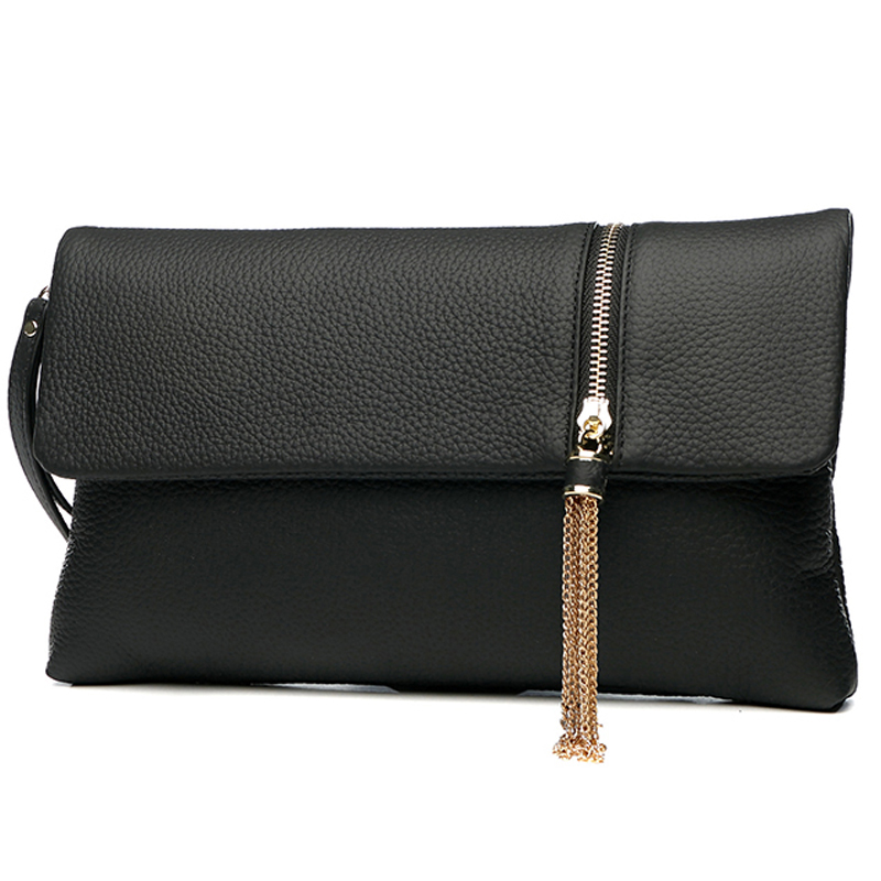 Genuine Leather Large Capacity Women Evening Bag Day Clutches Envelope Bags Chain Shoulder Handbags Tassel Clutch Purse Wallet цены