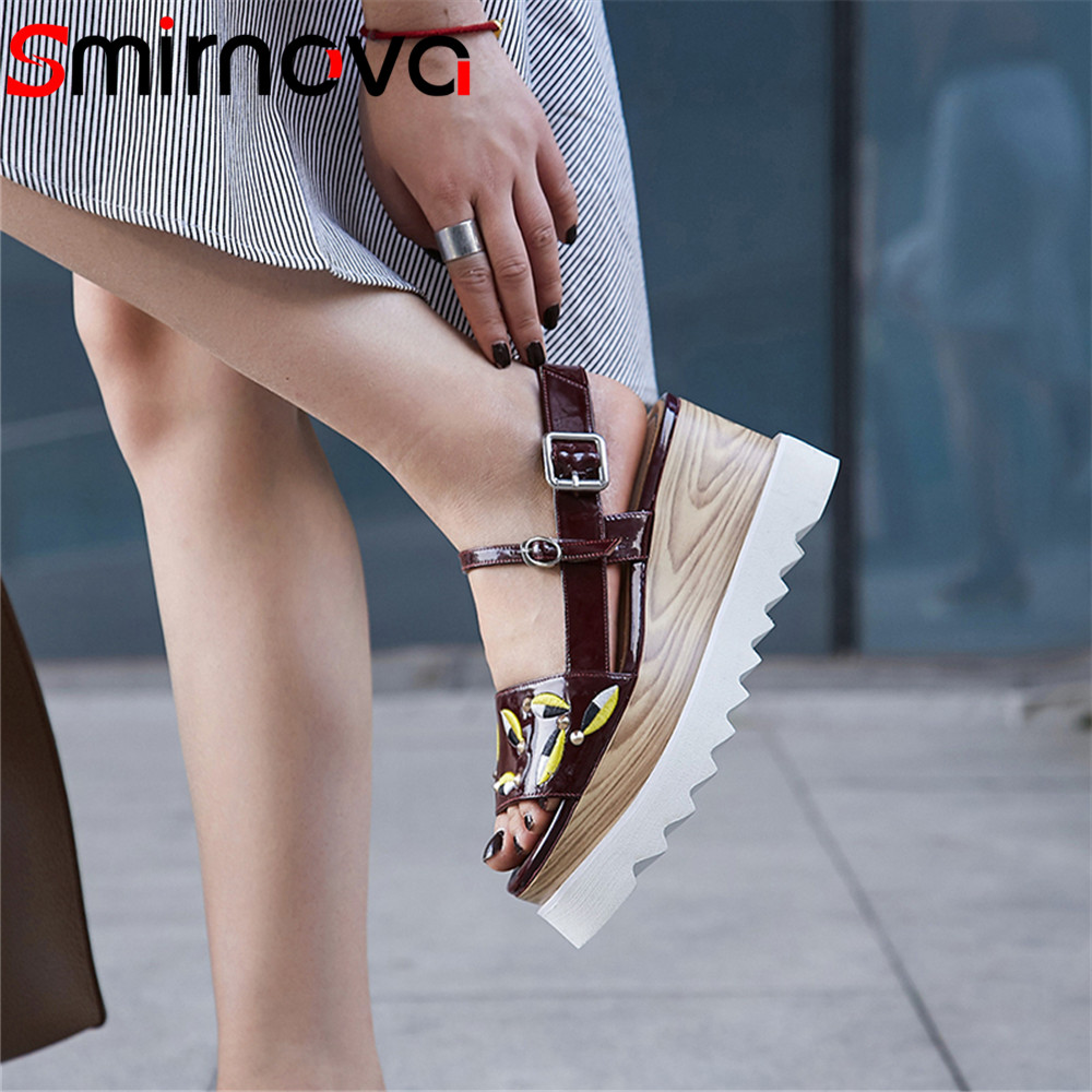 Smirnova 2018 fashion summer new shoes woman peep toe buckle sandals women platform wedges sandals women