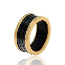 New Fashion Men Lovers Brands Rings 10MM Titanium Band Wedding Black Stainless Steel Solid Ring For Men And Women Party (KA0174)