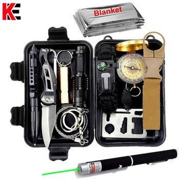 Conjunto de kit de supervivencia militar de viaje al aire libre mini herramientas de camping kit de ayuda de emergencia multifunct supervivencia pulsera silbato manta cuchillo