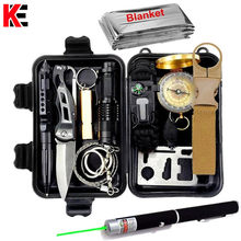 Survival kit set military outdoor travel mini camping tools aid kit emergency multifunct survive Wristband whistle blanket knife(China)
