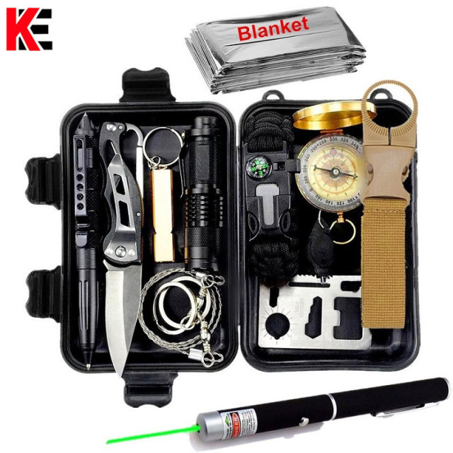 Survival kit military outdoor travel mini camping tools aid kit emergency Wristband whistle blanket knife Laser pointer