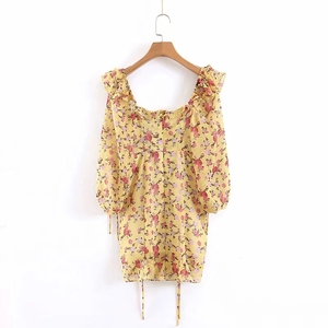 Image 4 - Summer dress 2020 Boho floral print dress women sexy lace up bow yellow dress female casual korean clothes party dress vestidos