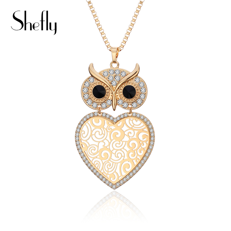 Gold Color Luck Owl Heart Flower Shaped Cubic Zirconia Pendant Statement Necklace For Women Long Crystal Sweater Collier Jewelry