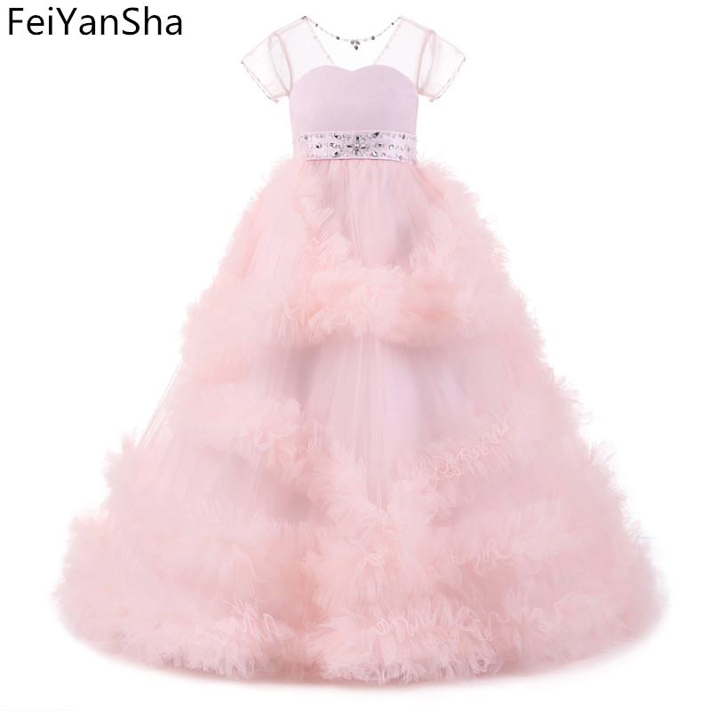 FeiYanSha New Flower Girl Dress Long Sleeves O Neck Girls Pageant Gowns Holy Lace Communion Dresses For Girls Birthday Party Dre elegant glitz embroidery lace up flower girls dresses kids teenagers half sleeves bowknot holy communion birthday party dress