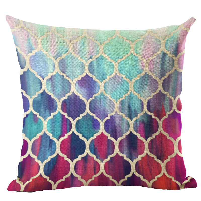 Homing Colorful Mandala Geometric Cushion Cover 45x45cm Hexagon Plaid Pillow Cover Pillow Case Home Decor Seat Case 18x18in