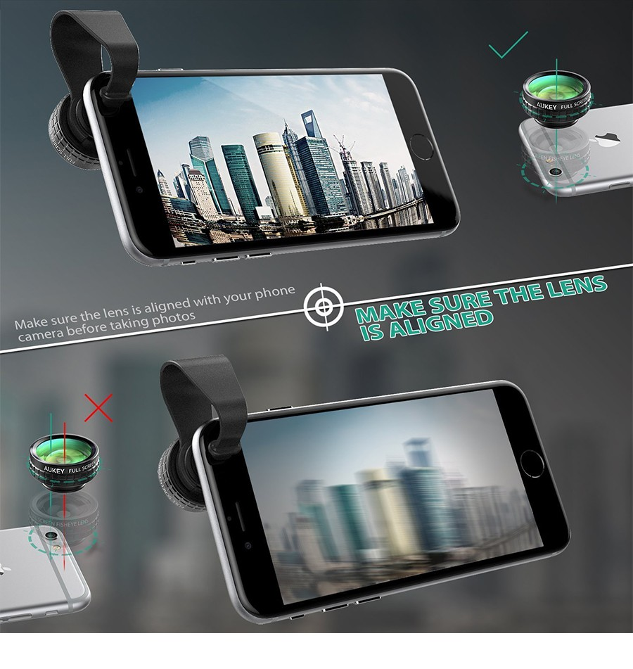 AUKEY Fish eye Lens 3in 1 Clip-on Cell Phone Camera 180 Degree Fisheye Lens+Wide Angle+Macro Lens for iPhone 7Plus Xiaomi & More 15