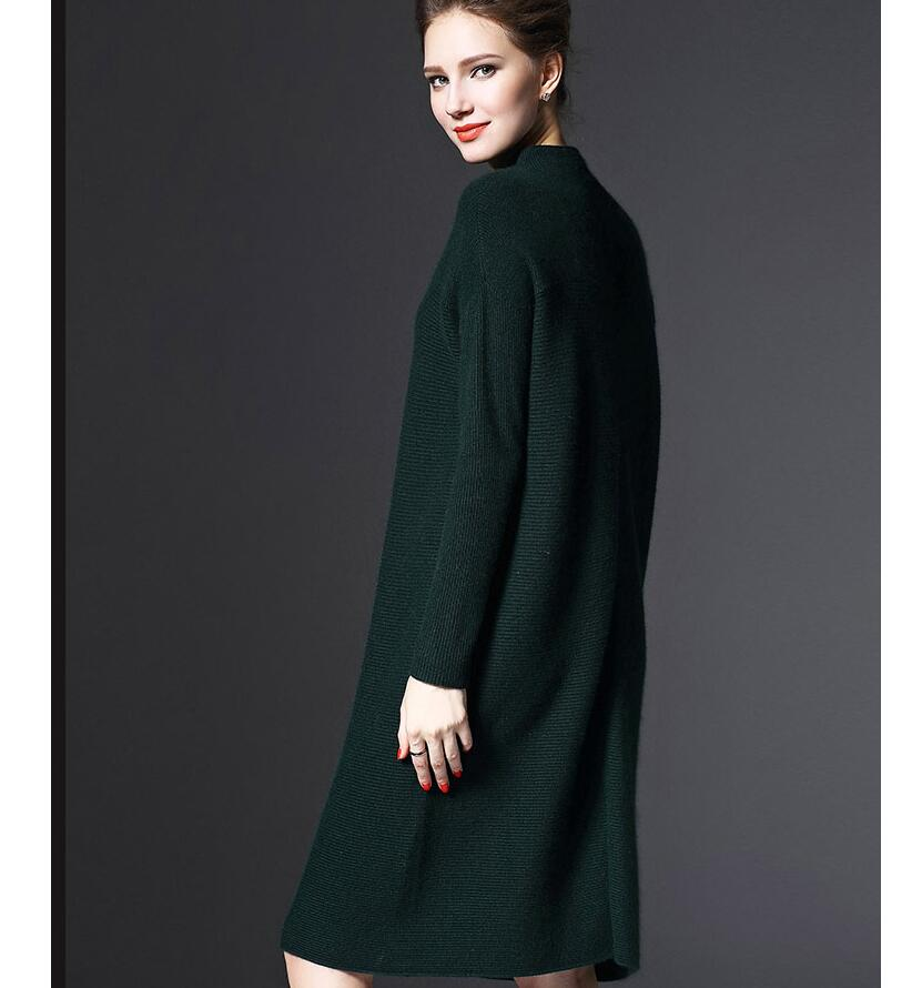 2018 Autumn Winter Women Fashion High Collar Plus Size Loose Knitted Dress Casual Long-sleeved Slim Sexy Christmas Sweater Dress