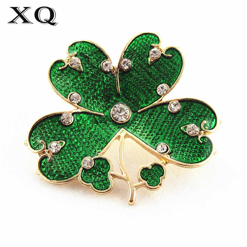 XQ 2016Free shippingFashionable woman new winter drop glaze enamel clovers coat clothing joker temperament brooch