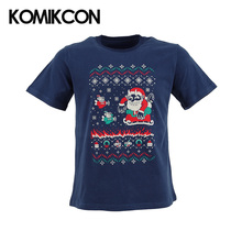 KOMIKCON Cuphead Tidings Pixel style Navy Cotton T-shirt Adult's Short Sleeve Tee