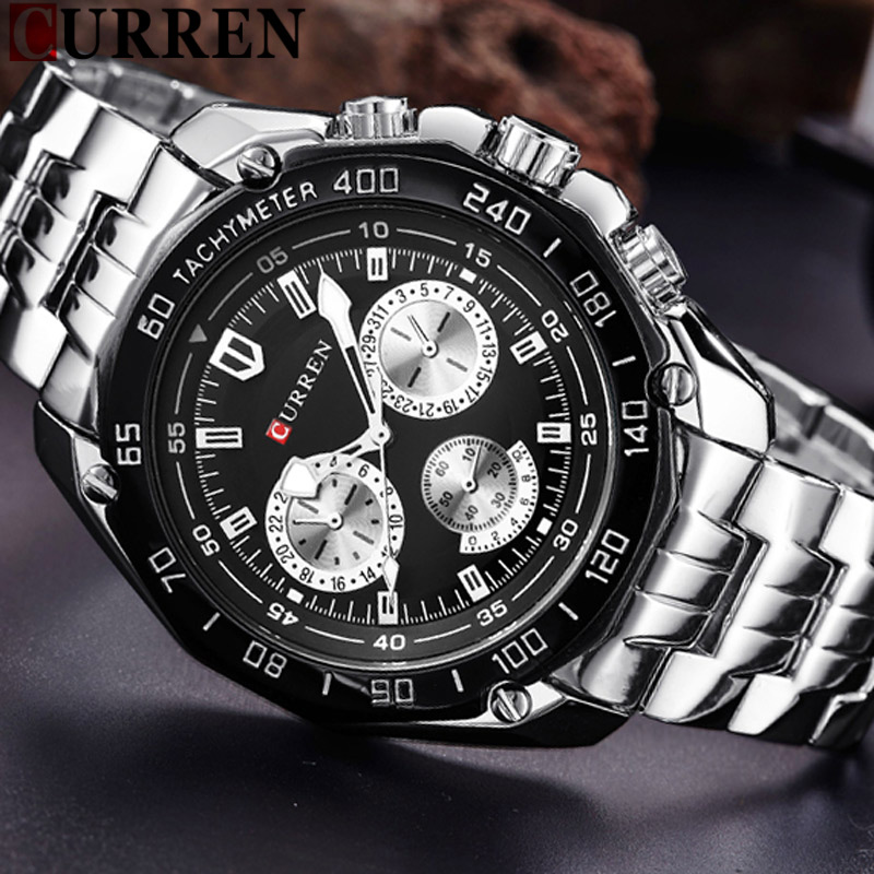 CURREN Men Watch New Top Luxury Brand Sport Military Business Casual Male Clock Steel Strap Wrist Quartz Mens Watches Gift 8077 curren fashion watches men top brand luxury wrist quartz watch male men sport clock military design casual men s gift clocks
