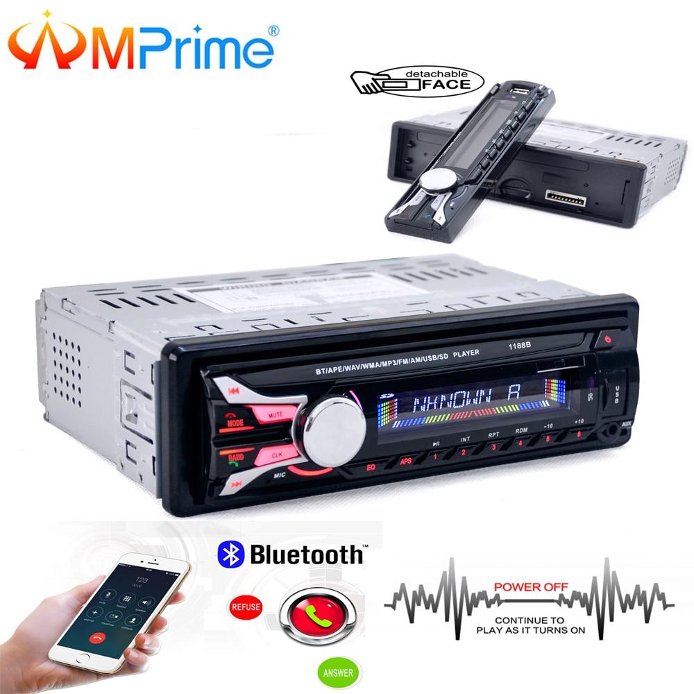 AMPrime Car Radio Bluetooth Detachable Front Panel Auto Audio Stereo Car MP3 Player AUX USB Handsfree Radio Tuner Remote Control