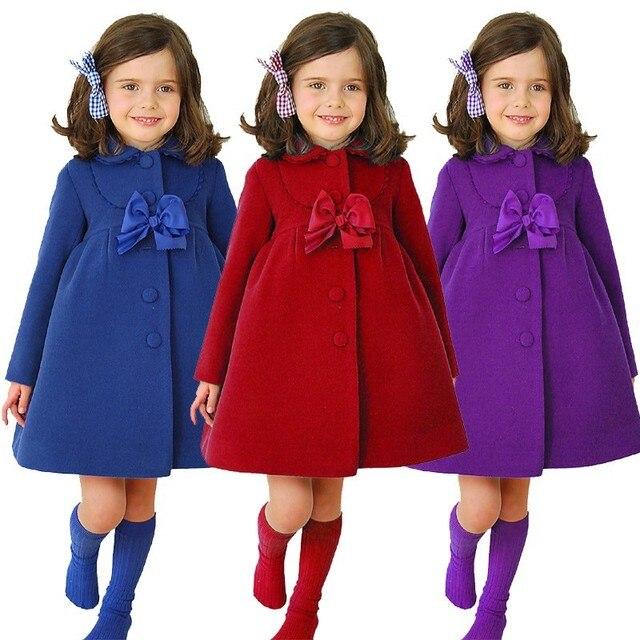 Children Wool Coats Girls Winter Cloak Coats Baby Girl Clothes Bowtie Wool Coat For Girls Long Girls Outerwear Coats SYHB