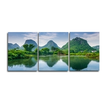 Laeacco Canvas Calligraphy Painting 3 Panel Green Mountain Wall Artwork Natural Posters and Prints Study Home Living Room Decor