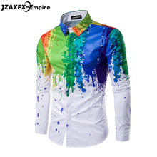 New Arrival Men Shirt Long Sleeve Men Printing Colorful Shirts Fashion Design Rainbow Pattern Shirt camisa masculina Shirt men