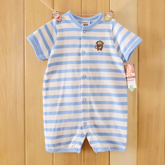 Hot Sale cartoon monkey Covered Button Rompers Small Baby Clothes Newborn Short-sleeve Cotton Romper For Summer