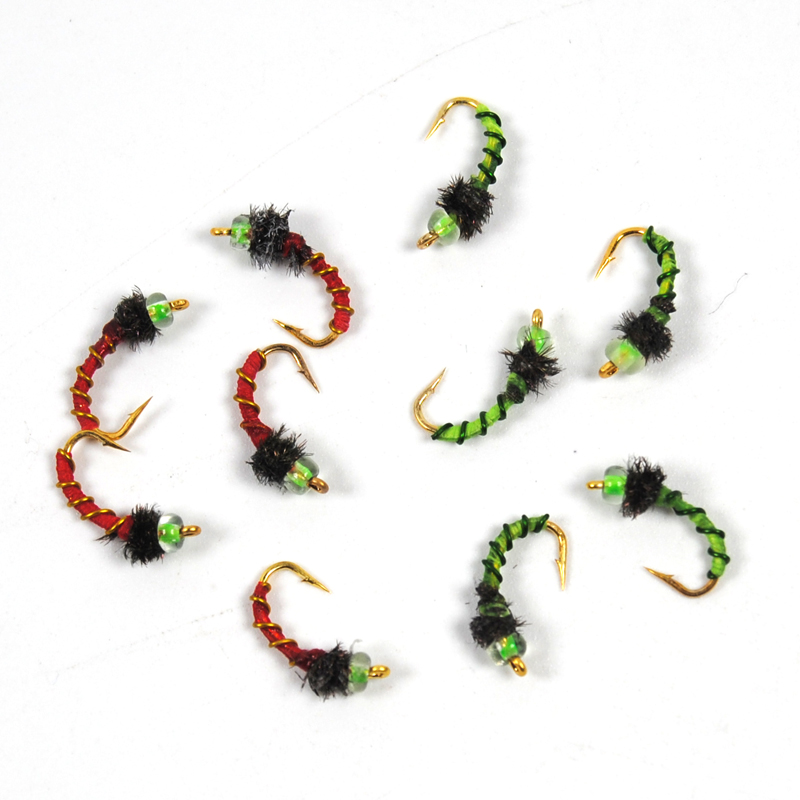 10pcs Midge Nymph Fly Green Red Fly Fishing Bait Lures Hegene / # 14 Gold Color Hook