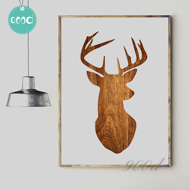 deer head wood print canvas art print painting poster wall picture