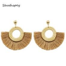 STRATHSPEY Handmade Circle Fan Shaped Straw Tassel Earrings For Women Woven Rattan Hoop Fringe Drop Earring New design jewelry