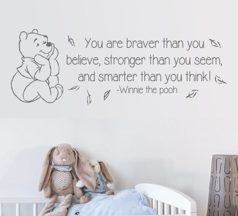 Creative Cute Winnie The Pooh Wall Stickers For Kids Rooms Home Decoration  Nursery Wall Decals Quotes