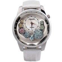 TIME100 Unique Dames Montres À Quartz Analogique Big Face Cystal Shell Cadran Plus Blanches Bracelet En Cuir Femmes Montre mujer orologio da polso