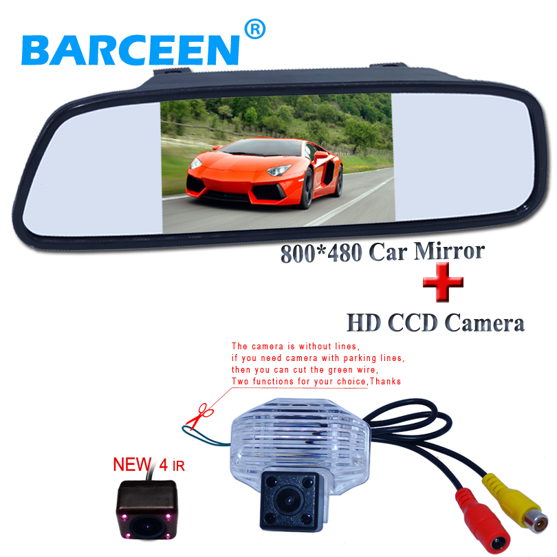 цена на Car rear view mirror 5 display with car parking camera hd ccd image sensor 2 in 1 set fit for Toyota Corolla