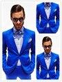 Terno masculino Considerável Azul Festa De Formatura de Casamento dos homens Do Noivo Smoking 2 Peças Ternos Casuais Blazer Padrinho de casamento Trajes Masculinos