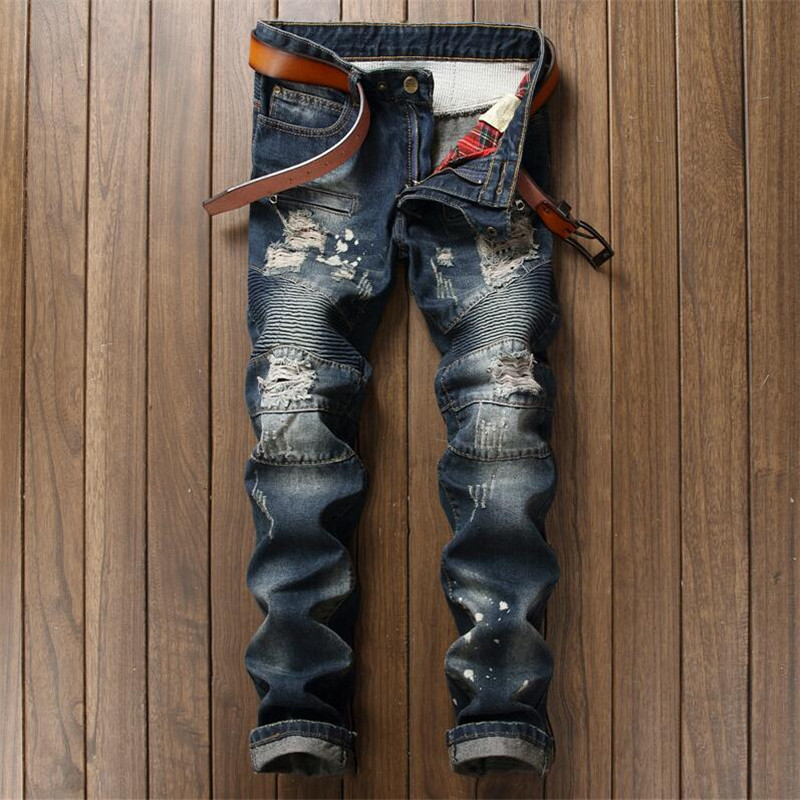New Destroyed Slim Fit Mens Blue Jeans Ripped Pants Quality Brand Clothing EU Style Mid Stripe Moto Jeans Patchwork Men alltronik replacement remote s429 1 433mhz s429 2 433mhz s429 4 433mhz s429 mini 433mhz