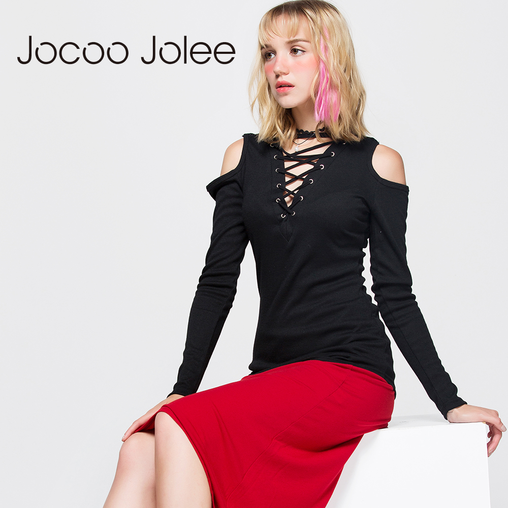Jocoo Jolee Criss Cross Tie Up Women Shirts me shirita sexy, Virta me kravatë Vjetër Vajzë me The Vaj