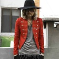 Men's slim fit suit short jacket coat male double breasted buttons red open jacket long sleeve small suit clothing