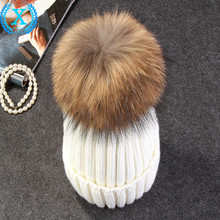 real mink fur pom poms knitted hat ball beanies winter hat for women girl 's wool hat cotton Skullies brand new thick female cap