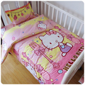 3Pcs/Sets  Baby Bedding Sets Cotton  Custom Made AB Face Printed Cartoon Cot Baby Bed Sheet Quilt Cover No Stimulation Bedding