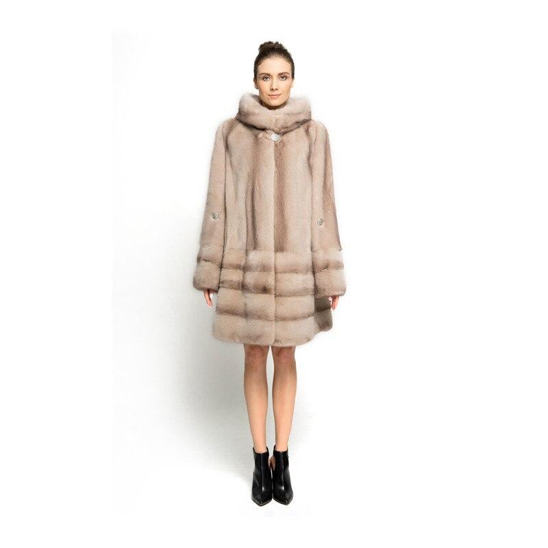 ZY89009 New Design Special Color Ladies Luxury Real Mink Fur With Mink Fur Hooede Women Winter Long Fur Jacket Fur Coat