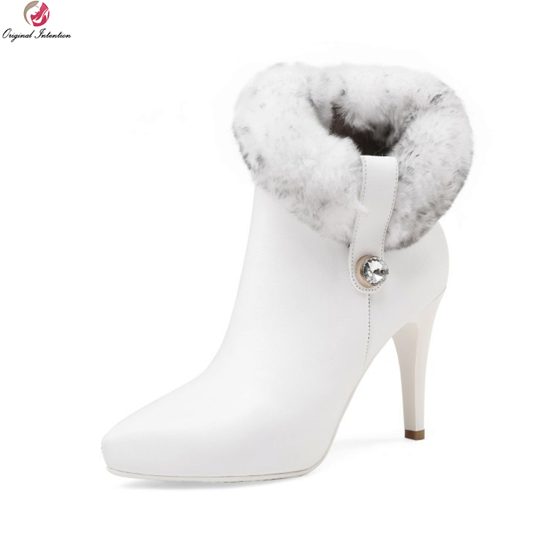 Original Intention Quality Women Ankle Boots Leather Thin High Heels Boots Fur Ladies Black White Shoes
