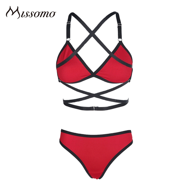 Missomo 2017 New Fashion Women Black Red Sexy Push Up Lace Wireless Bralettes Trim Underwear Soft Breathable Panties Bra Sets