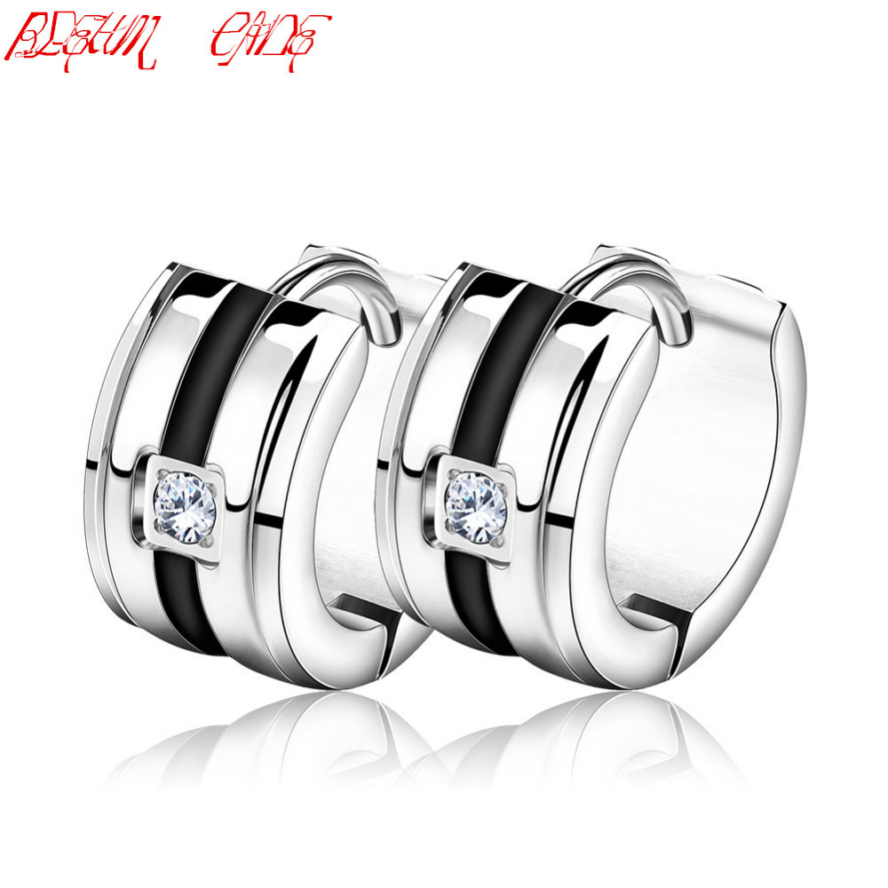Women Zircon Earrings 316L Stainless Steel Small Cute Girls Earrings Men Jewelry