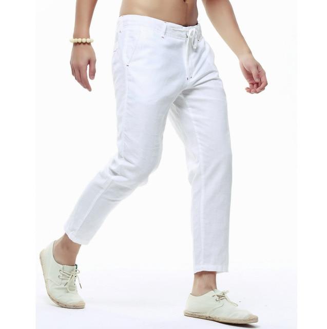 Summer Mens Linen Capri Pants Lightweight Slim Legs Casual