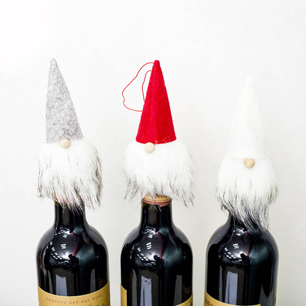 New Year Christmas Accessories Set Wine Bottle Cover Santa Doll Family Dinner Decor Christmas Decorations Ornaments For Home