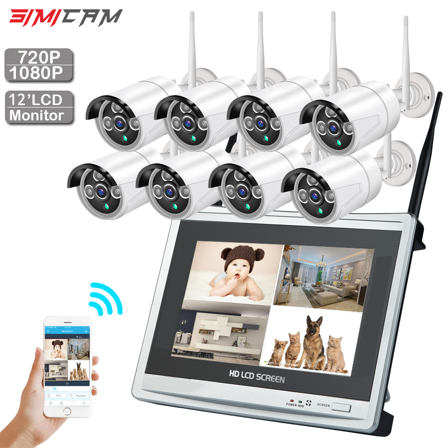 CCTV Camera Wireless system 720P/1080P 8CH 1MP/2MP IP camera waterproof outdoor P2P home security system video surveillance Kit
