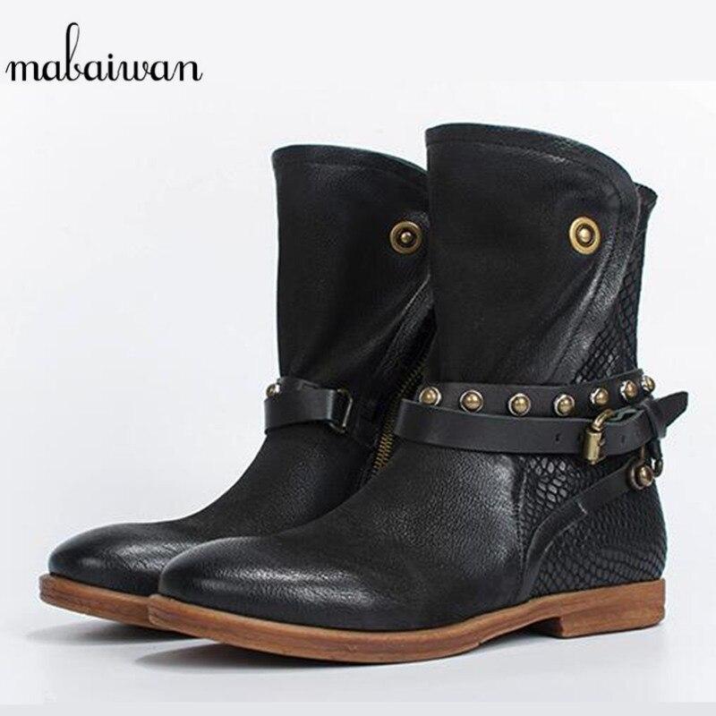 Nieve Remaches Negro Mujeres Cuero Auténtico gris Militar Hebilla Botines marrón 2017 Mabaiwa Botas Zapatos Pisos Moda wxSz8xUq