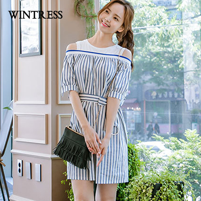 518696762b WINTRESS Plus Size Off The Shoulder Shirt Dress Round Neck Striped Leakage  Shoulder Collect Waist Fashion Women Dress With Belt