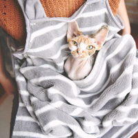Intimate Contact With Your Pets! The Coral Velvet Aprons With Pocket for Pets/ Hold Cat Apron