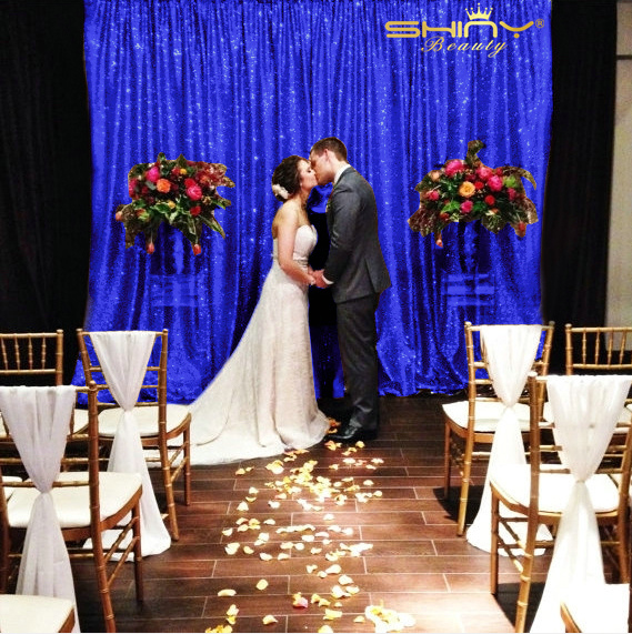 125x215cm Royal Blue Sequin Curtains Luxury Curtains Shimmer Sequin Fabric Photo Booth Backdrop 4FTX7FT y
