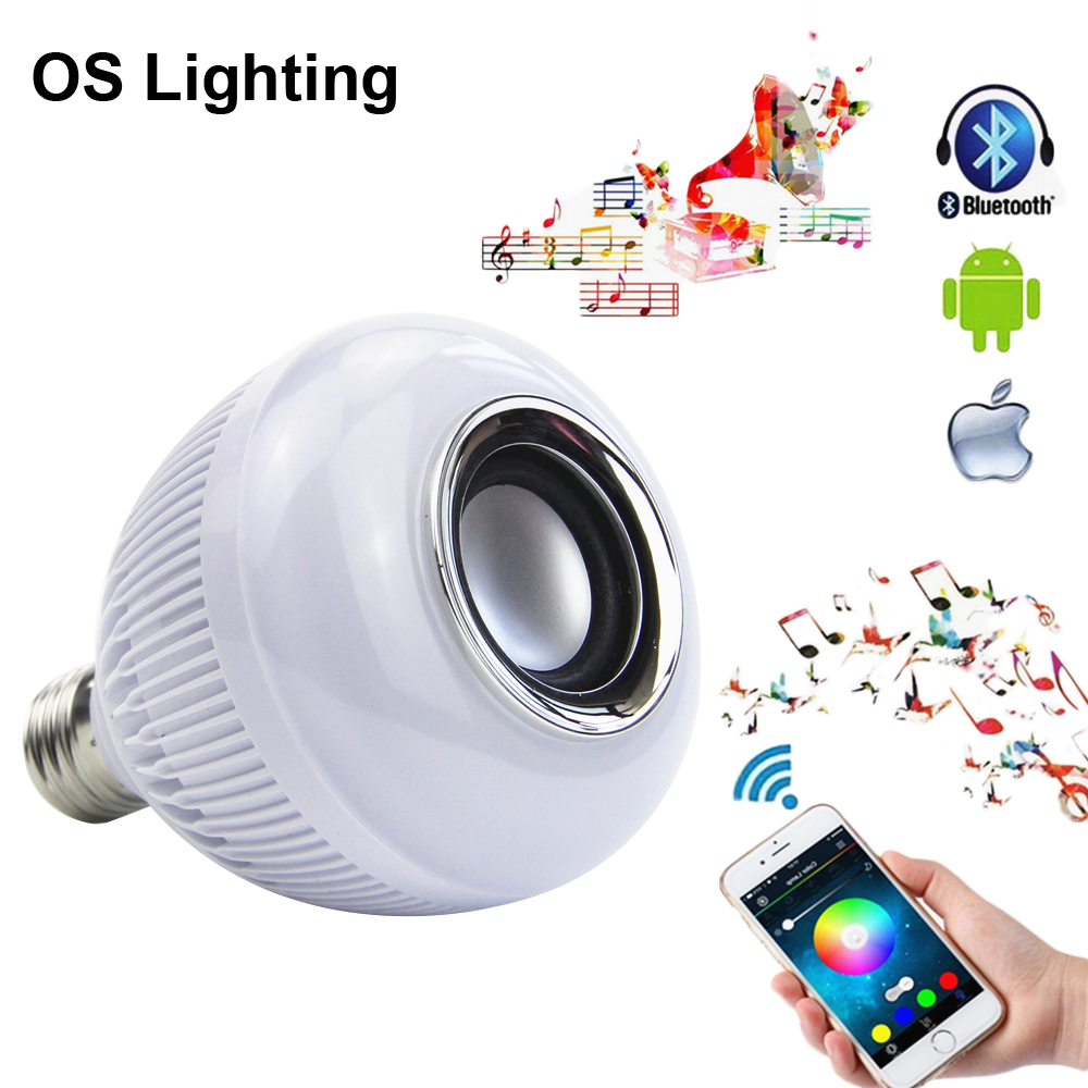 Wireless Bluetooth 12W LED Speaker Bulb Audio Speaker E27 RGBW Music Playing Light Lamp With 24 Keys remote Control newstyle portable wireless audio bluetooth speaker music playing e27 dimmable led light bulb lamp with rf remote control brightness adjustable and volume up down for smartphones tablets pcs and other bluetooth enabled devices