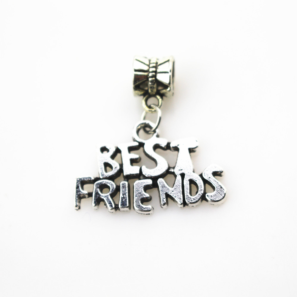 Free shipping 20pcs lot best friends charms big hole pendant beads fit women font b bracelet