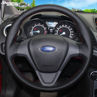 Shining wheat Hand stitched Black Leather Steering Wheel Cover for Ford Fiesta 2008 2013 Ecosport 2013 2016