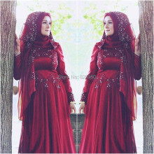 Red Win Long Sleeve Hijab Arab Turkish Muslim Wedding Dresses 2017 Vintage Floor Length Pearl Beading Chiffon Formal Dresses