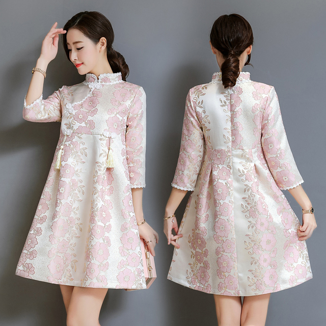 582179c366 2018 Autumn New jacquard tassel women dress Chinese national style Chinese  style improved Lolita cheongsam dress elegant