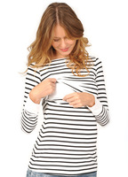 Mother O Neck Long sleeved Breastfeeding Maternity Feeding Striped t shirt Pregnant Bottoming Shirt Pregnancy Clothes